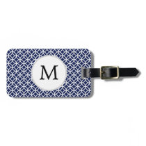 Personalized Monogram navy blue rings pattern Bag Tag