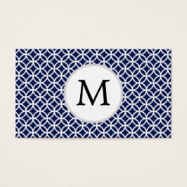 Personalized Monogram navy blue rings pattern Business Card