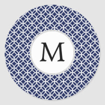 Personalized Monogram navy blue rings pattern Classic Round Sticker