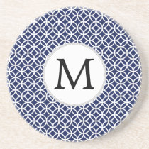 Personalized Monogram navy blue rings pattern Drink Coaster