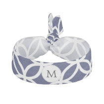 Personalized Monogram navy blue rings pattern Elastic Hair Tie
