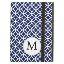 Personalized Monogram navy blue rings pattern iPad Air Cover
