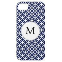 Personalized Monogram navy blue rings pattern iPhone SE/5/5s Case