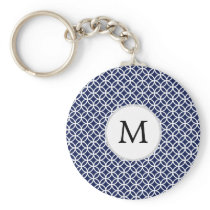 Personalized Monogram navy blue rings pattern Keychain