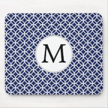 Personalized Monogram navy blue rings pattern Mouse Pad