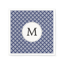Personalized Monogram navy blue rings pattern Napkin