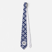 Personalized Monogram navy blue rings pattern Neck Tie