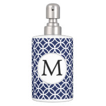 Personalized Monogram navy blue rings pattern Soap Dispenser And Toothbrush Holder