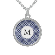 Personalized Monogram navy blue rings pattern Sterling Silver Necklace