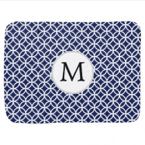 Personalized Monogram navy blue rings pattern Stroller Blanket