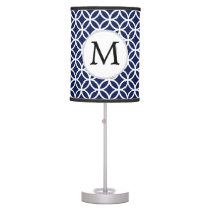 Personalized Monogram navy blue rings pattern Table Lamp