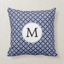 Personalized Monogram navy blue rings pattern Throw Pillow