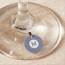 Personalized Monogram navy blue rings pattern Wine Glass Charm