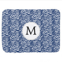 Personalized Monogram Navy Blue Zebra Stripes Baby Blanket