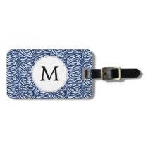 Personalized Monogram Navy Blue Zebra Stripes Bag Tag
