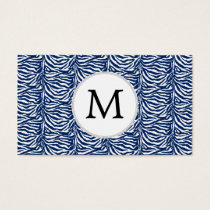 Personalized Monogram Navy Blue Zebra Stripes Business Card