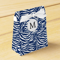 Personalized Monogram Navy Blue Zebra Stripes Favor Box
