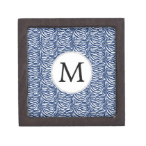 Personalized Monogram Navy Blue Zebra Stripes Gift Box