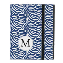 Personalized Monogram Navy Blue Zebra Stripes iPad Folio Case