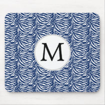 Personalized Monogram Navy Blue Zebra Stripes Mouse Pad