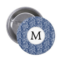 Personalized Monogram Navy Blue Zebra Stripes Pinback Button
