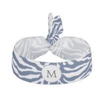 Personalized Monogram Navy Blue Zebra Stripes Ribbon Hair Tie