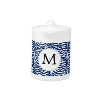 Personalized Monogram Navy Blue Zebra Stripes Teapot