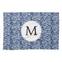 Personalized Monogram Navy Blue Zebra Stripes Towel