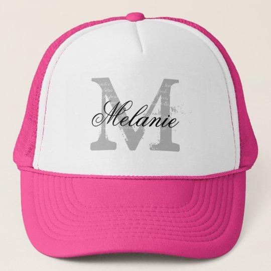 ee35eba9915 Personalized monogram neon pink hat for bridesmaid