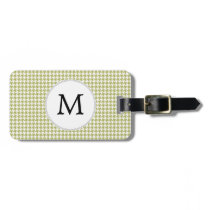 Personalized Monogram Olive houndstooth Pattern Bag Tag