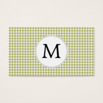 Personalized Monogram Olive houndstooth Pattern Business Card