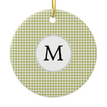 Personalized Monogram Olive houndstooth Pattern Ceramic Ornament