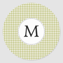 Personalized Monogram Olive houndstooth Pattern Classic Round Sticker