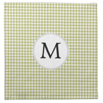 Personalized Monogram Olive houndstooth Pattern Cloth Napkin