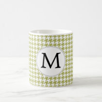 Personalized Monogram Olive houndstooth Pattern Coffee Mug