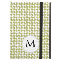 Personalized Monogram Olive houndstooth Pattern iPad Air Cases