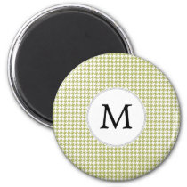 Personalized Monogram Olive houndstooth Pattern Magnet