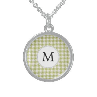 Personalized Monogram Olive houndstooth Pattern Necklaces