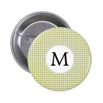 Personalized Monogram Olive houndstooth Pattern Pinback Button