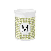 Personalized Monogram Olive houndstooth Pattern Pitcher