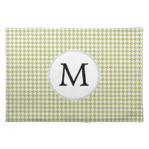 Personalized Monogram Olive houndstooth Pattern Placemat
