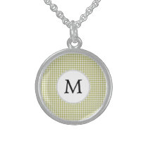 Personalized Monogram Olive houndstooth Pattern Sterling Silver Necklace
