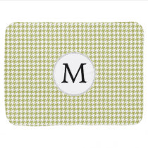 Personalized Monogram Olive houndstooth Pattern Swaddle Blanket