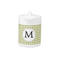 Personalized Monogram Olive houndstooth Pattern Teapot