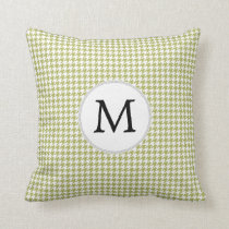 Personalized Monogram Olive houndstooth Pattern Throw Pillow