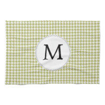 Personalized Monogram Olive houndstooth Pattern Towels