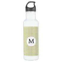 Personalized Monogram Olive houndstooth Pattern Water Bottle