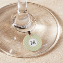Personalized Monogram Olive houndstooth Pattern Wine Glass Charm