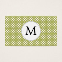 Personalized Monogram Olive Polka Dots Pattern Business Card