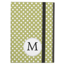 Personalized Monogram Olive Polka Dots Pattern Case For iPad Air